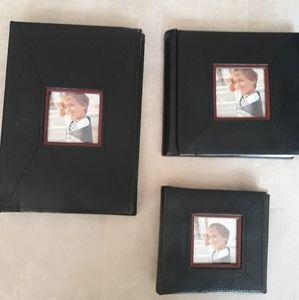 Black Faux Leather Photo Album Set